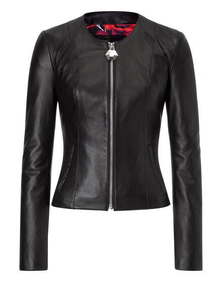 leather jacket roses