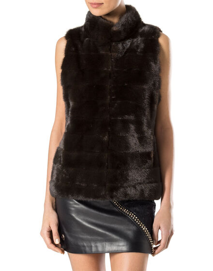 """fur vest """"flowered"""""""