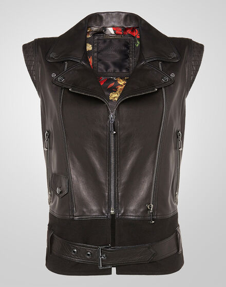 leather vest eight roses