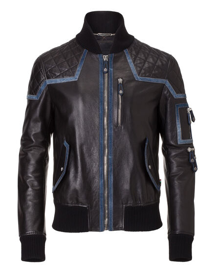 leather jacket military