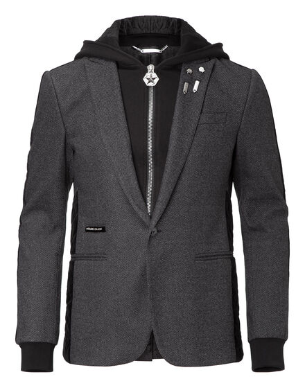 hooded blazer elastic