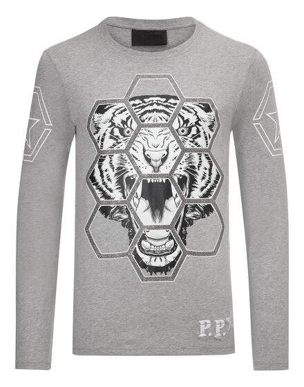 T-shirt Round Neck LS Exagonal tiger