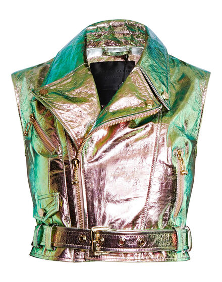 leather vest vintage colours
