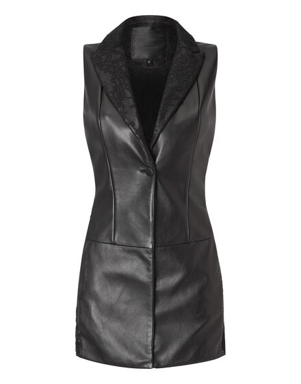 """leather vest """"stay classy"""""""