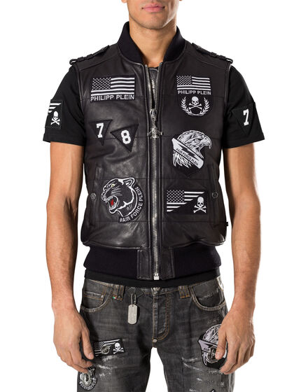 "leather vest ""gaspe"""
