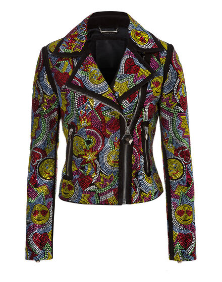 leather jacket multicolor