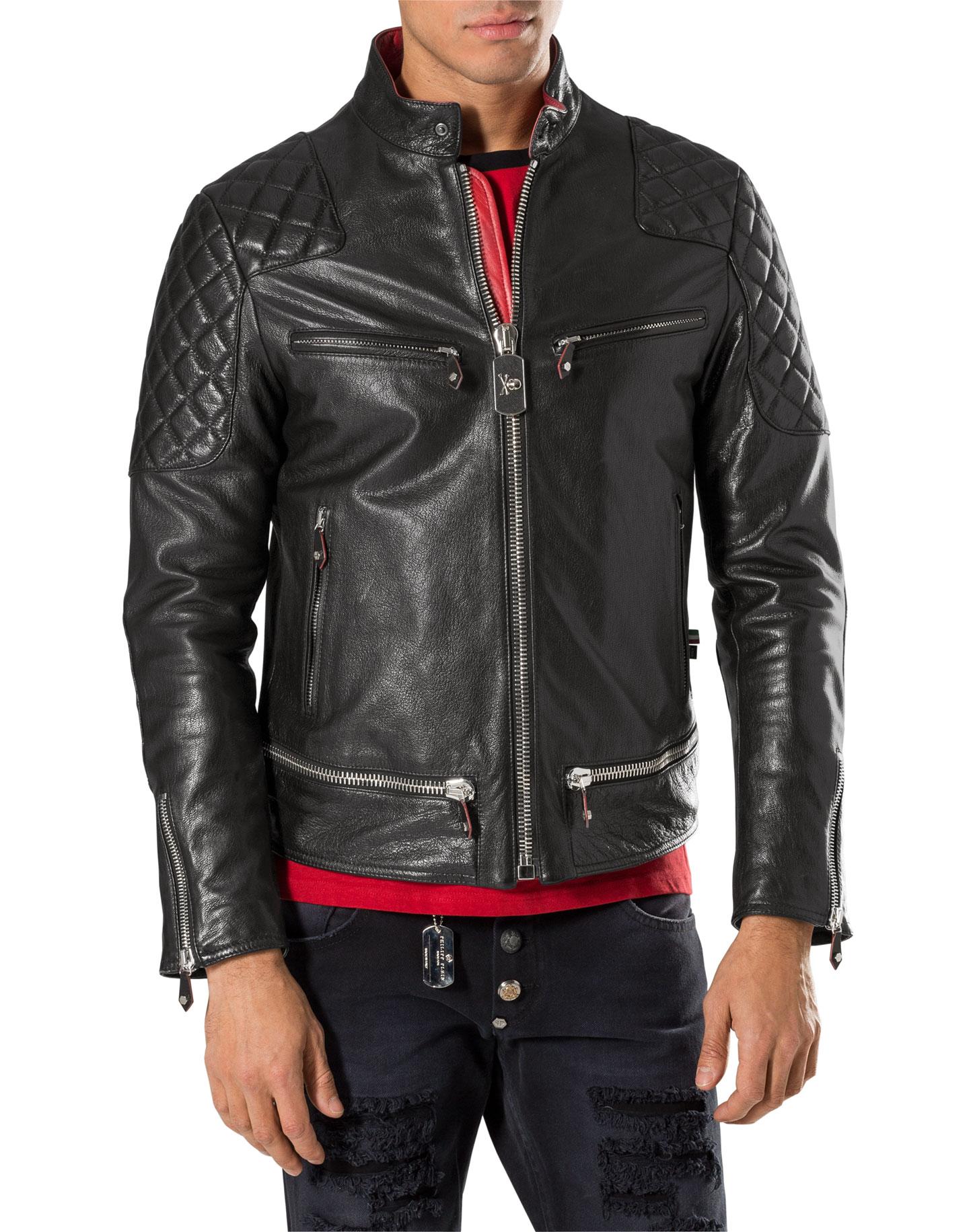 leather jacket have fun philipp plein outlet. Black Bedroom Furniture Sets. Home Design Ideas