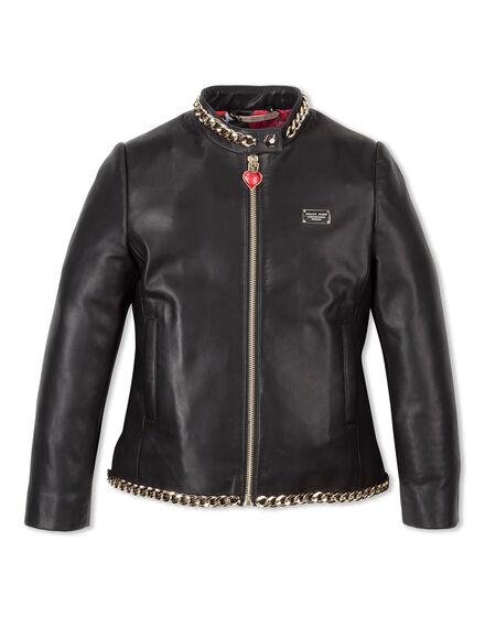 Leather Jacket Paillettes