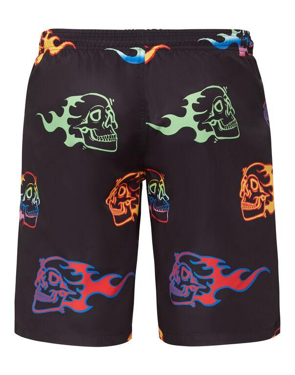 Beachwear Short Trousers Skull on fire