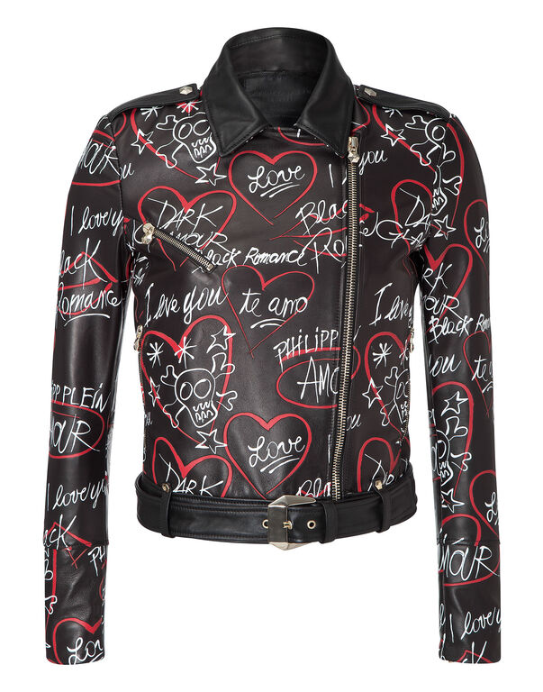 """leather jacket """"mind soul body"""""""