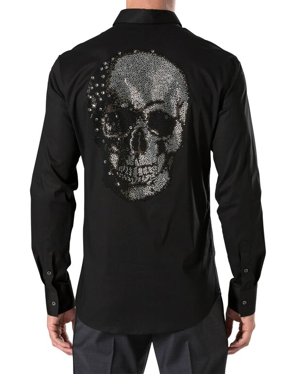 "Shirt Diamond Cut LS ""Skull strass"""