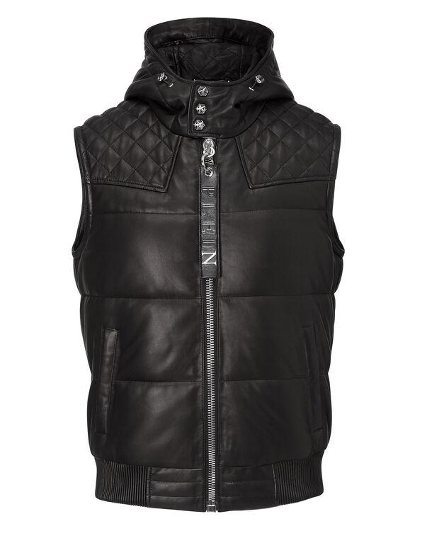 """leather vest """"crime on crime"""""""