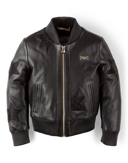 leather bomber sparkling cat