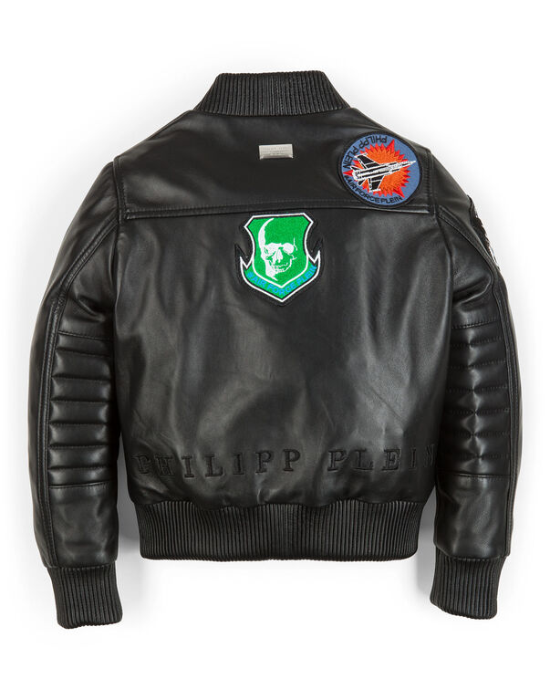 "leather jacket ""good boy"""
