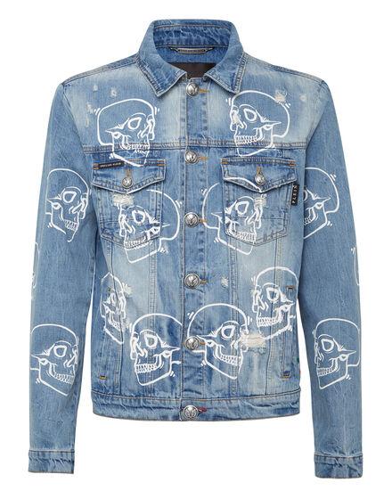 Denim Jacket Allover outline Skull