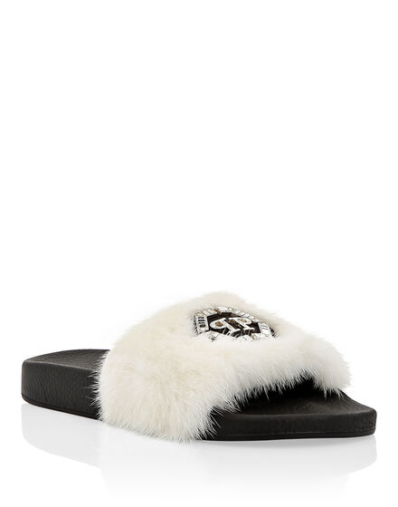 Sandals Flat mink fur insert Luxury