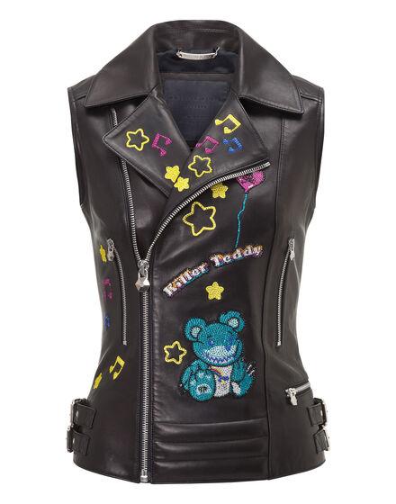 Leather Vest Short Chono