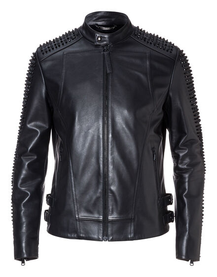 Leather Moto Jacket Snake strass