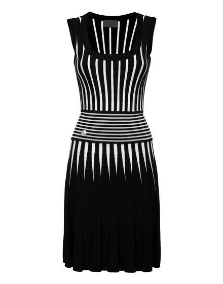 Knit Dress Intarsia Stripes