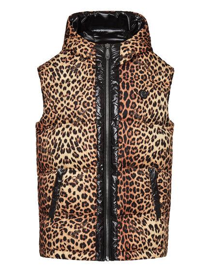 Puffer Short Vest Leopard