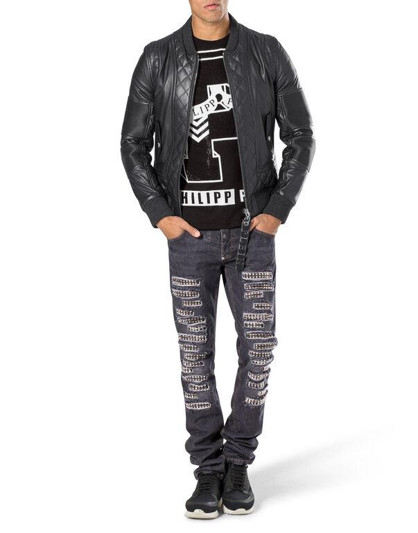 """leather jacket """"wood king"""""""