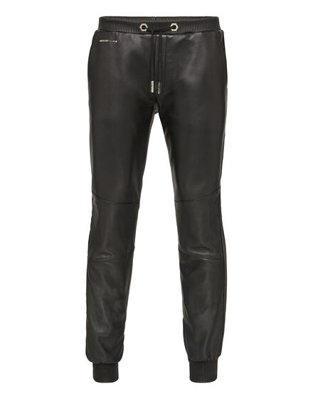 Leather Jogging Trousers Show model