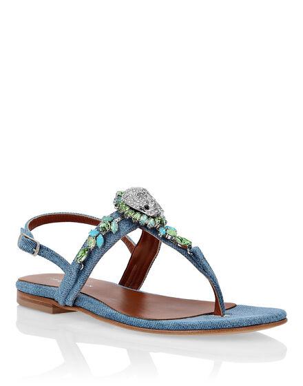 Denim Sandals Flat Crystal