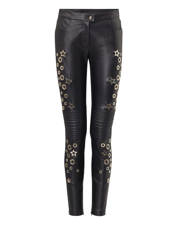 "Leather Trousers Long ""Aquamarine"""