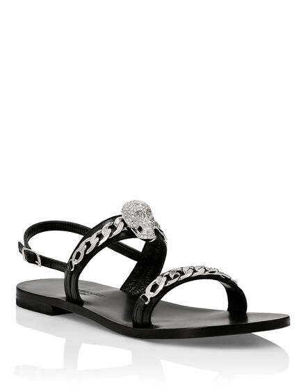 Leather Sandals Flat Skull crystal