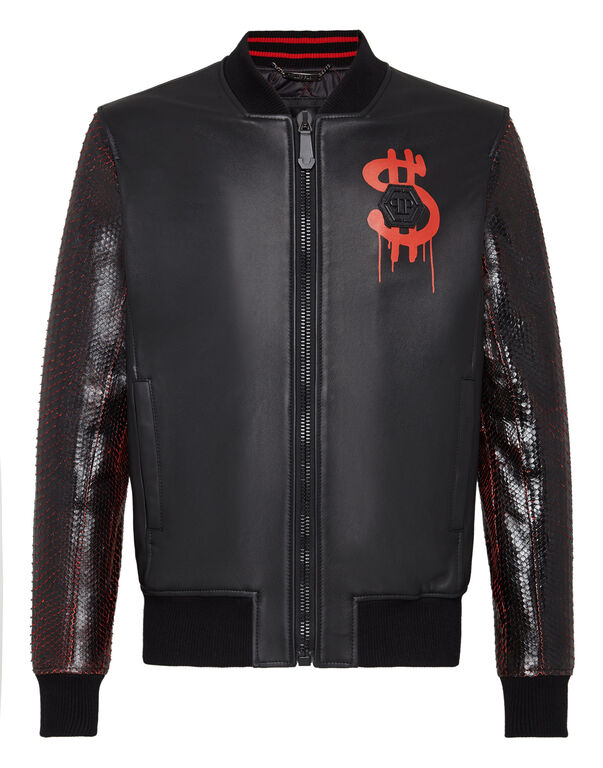 "Leather Bomber ""Money soup VIP"""