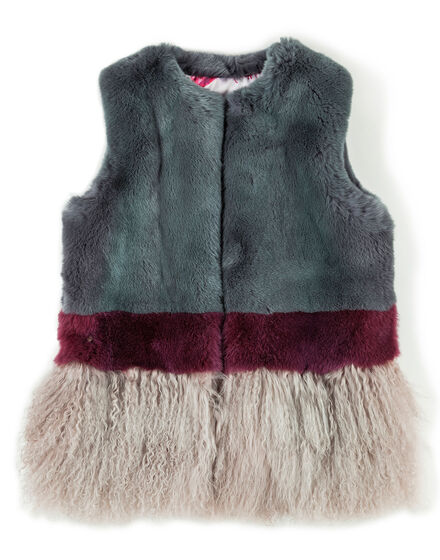 Fur Vest Short Bright Rose