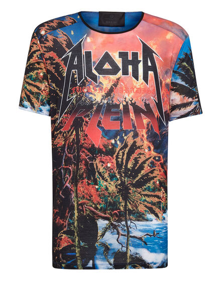 T-shirt Black Cut Round Neck Aloha Plein