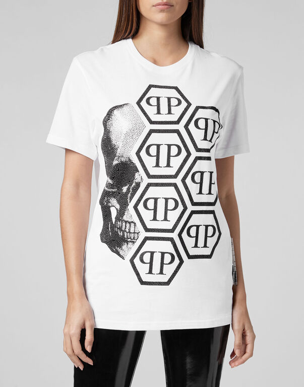 T-shirt Black Cut Round Neck Skull