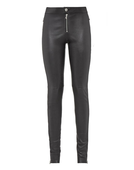 Leather Slim Trousers Down