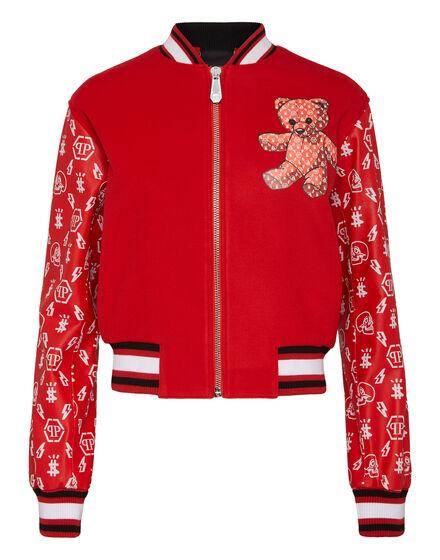 Leather Bomber Monogram Teddy Bear