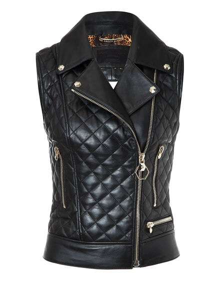 Leather Vest Short Higon