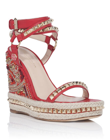 Sandals Wedges Rouge
