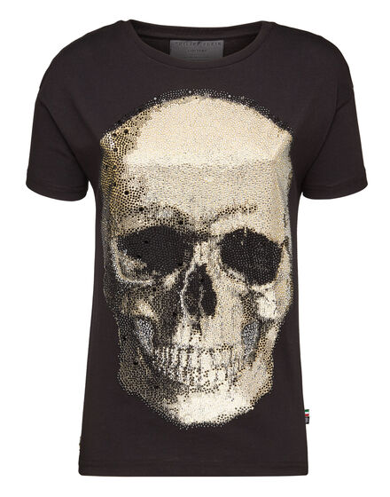 T-Shirt Original Cut Round Neck Shiny Skull
