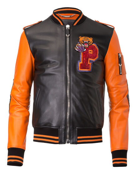 Leather Bomber Caution
