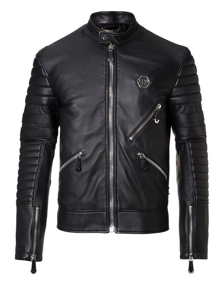 Leather Moto Jacket Dark Car