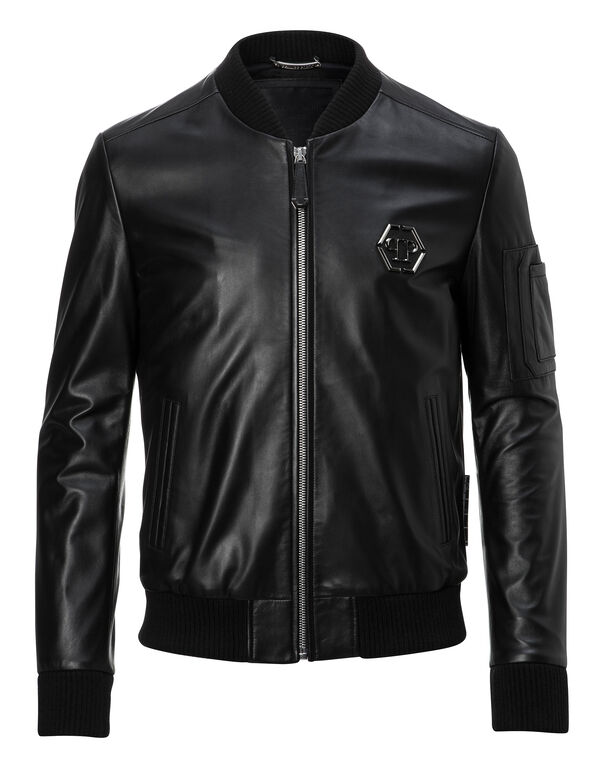 """Leather Bomber """"Double"""""""