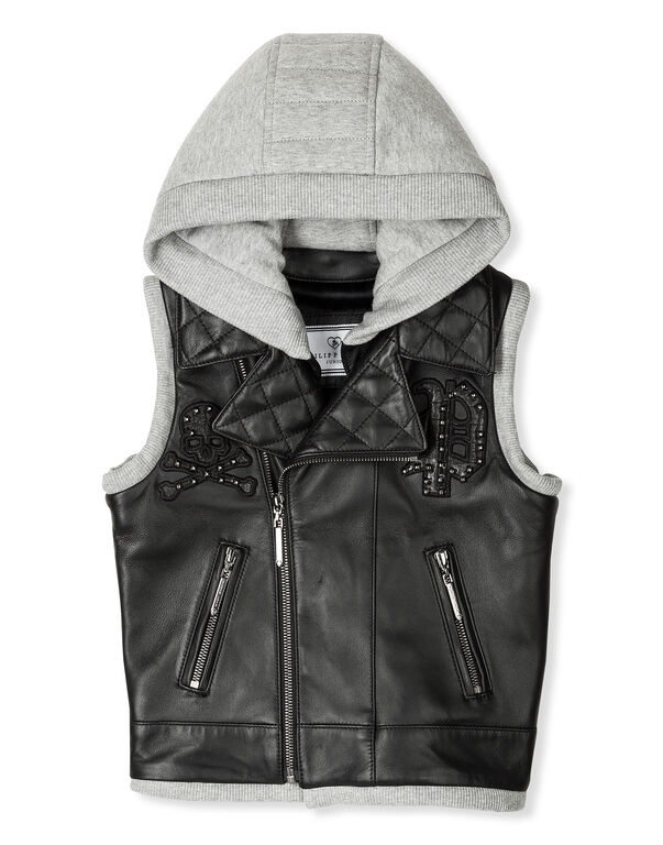 "Leather Vest Long ""Rudi"""