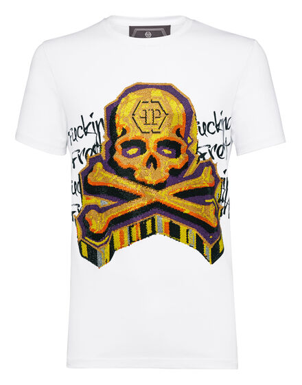 T-shirt Platinum Cut Round Neck Graffiti