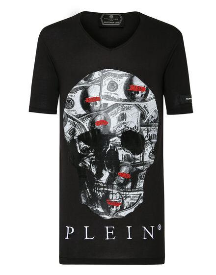 T-shirt Black Cut V-Neck Dollar
