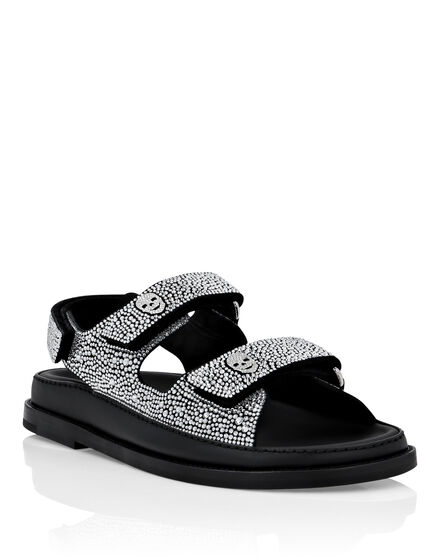 Suede Sandals Flat Crystal
