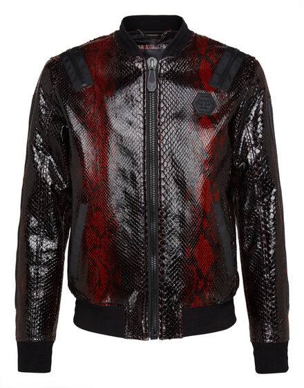 Leather Bomber Python Zipped