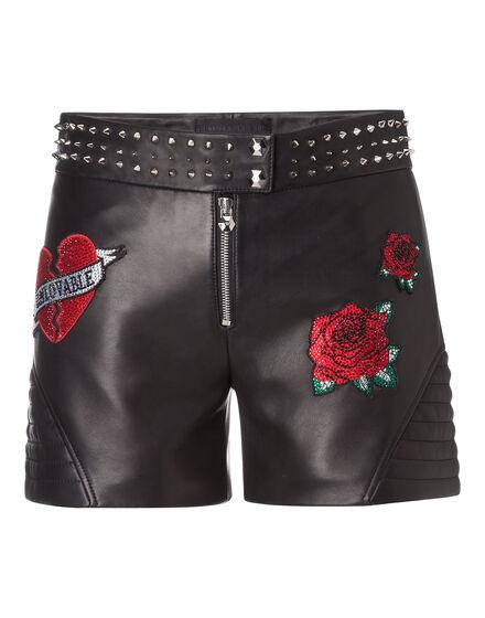 Leather Shorts Roses Plein
