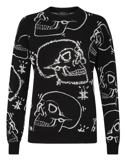 Pullover Round Neck LS Look At Me  Skull strass