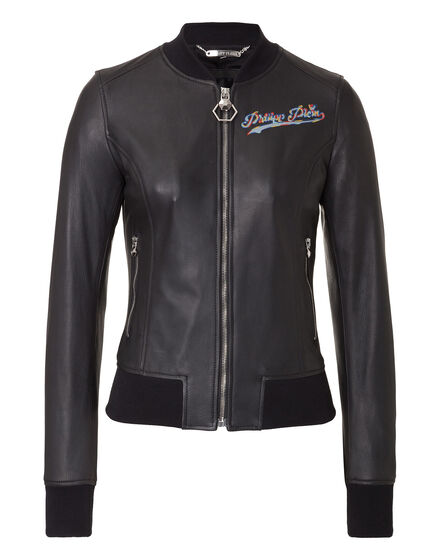 Leather Bomber Forest