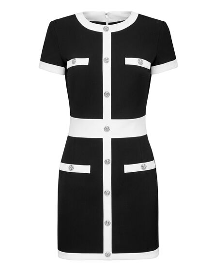 Cady Black and White Short Dress